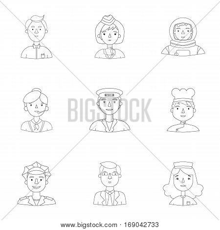 People of different profession set icons in outline design. Big collection of people of different profession vector symbol stock illustration