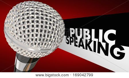 Public Speaking Microphone Speech Words 3d Illustration