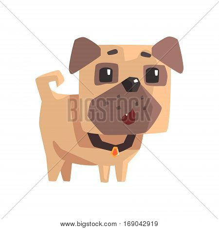 Astonished Little Pet Pug Dog Puppy With Collar Emoji Cartoon Illustration.  Stylized Geometric Vector Design.