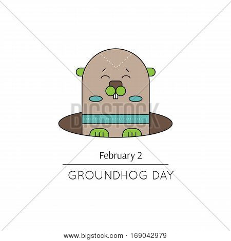 Vector thin line icon, Groundhog day. Marmot looks out of the hole. February 2, tradition of the weather predicting. Simple mono linear modern design.