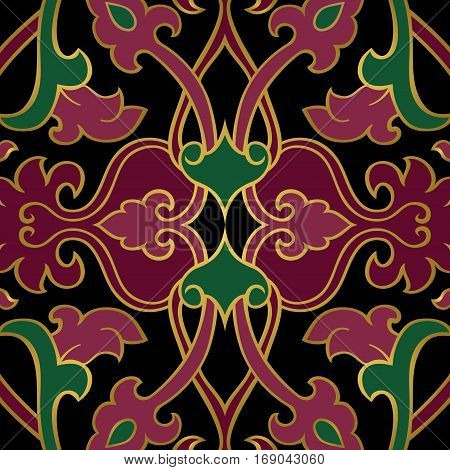 Oriental abstract ornament. Template for carpet wallpaper textile and any surface. Lilac and green rich pattern on a black background.