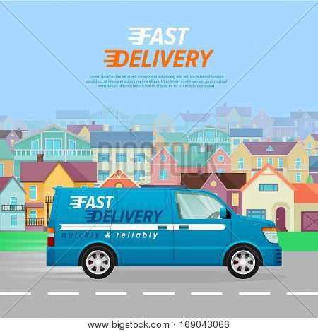Blue delivery van with a white line on the asphalt road in the city. Fast four-wheeled mean of transportation. Blue background with many high buildings. Speed auto driving on the highway. Vector