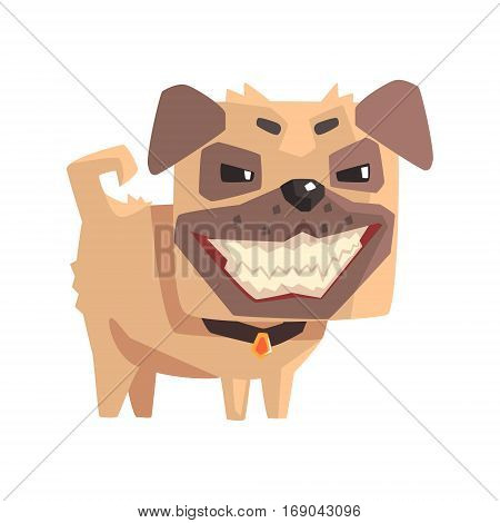 Mischievous Little Pet Pug Dog Puppy With Collar Emoji Cartoon Illustration. Stylized Geometric Vector Design.