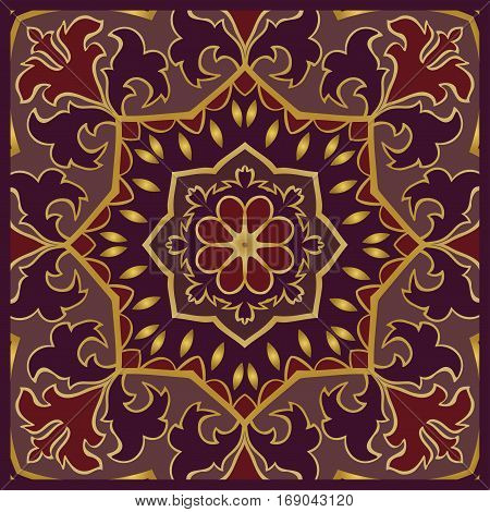 Purple oriental ornament of mandalas. You can use this pattern for the shawl carpet cushion cover textile and other surfaces.