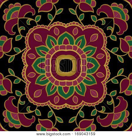 Dark vector background. The pattern with floral simple mandalas. Oriental colorful ornament. Template for textile shawl carpet.