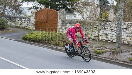 Conflans-Sainte-HonorineFrance-March 62016: The Norwegian cyclist Alexander Kristoff of Katusha Team riding during the prologue stage of Paris-Nice 2016.