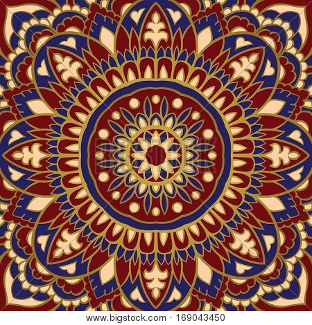 Oriental colorful pattern of mandala. Vector rich ornament with abstract elements. Template for textile carpet shawl.