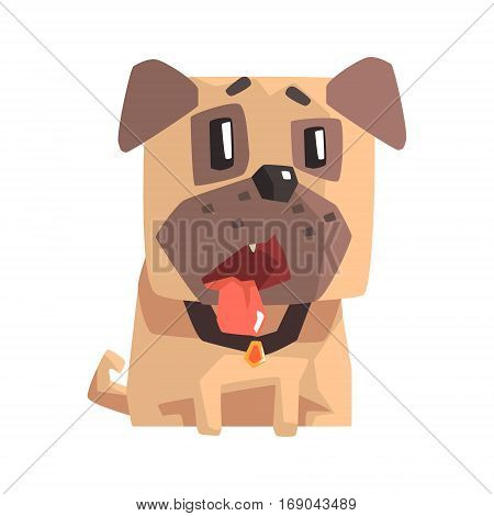 Shocked And Disappointed Little Pet Pug Dog Puppy With Collar Emoji Cartoon Illustration. Stylized Geometric Vector Design.