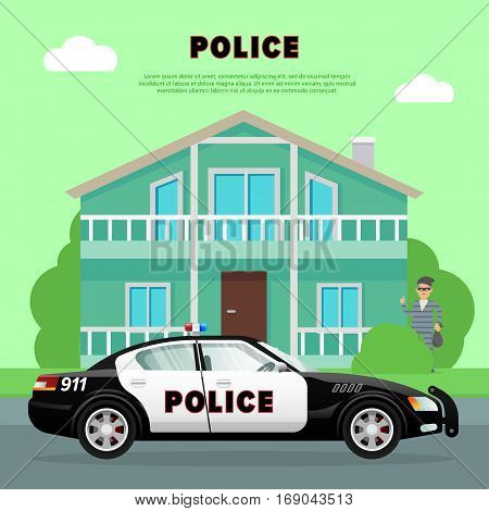 Black-white police car driving to bank. Four-wheeled fast auto in city. Robber in special clothes with bag of money hiding behind green tree near bank on green background. Vector illustration