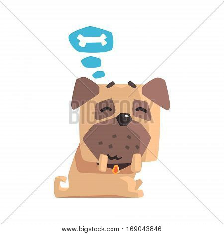 Little Pet Pug Dog Puppy With Collar Dreaming Of A Bone Emoji Cartoon Illustration. Stylized Geometric Vector Design.