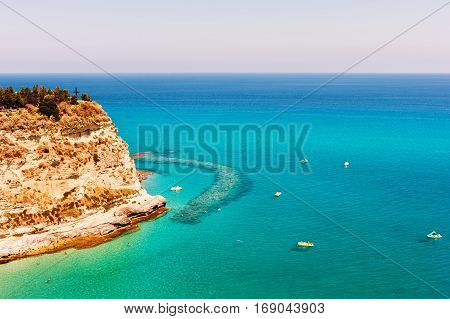 Beach in Tropea, Calabria, Italy, summer vacation in Europe