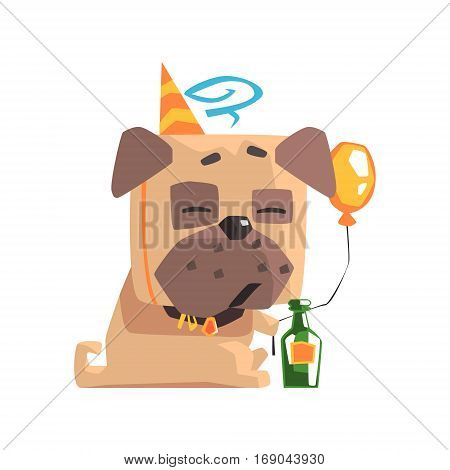 Little Pet Pug Dog Puppy With Collar Having A Birthday Party With Balloon And Champagne Bottle Emoji Cartoon Illustration Stylized Geometric Vector Design.