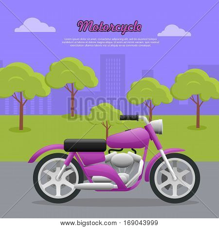 Motorcycle. Transport. Travelling. Contemporary violet motorcycle on road in big city. Two-wheeled vehicle with fuel economy. Convenient mean of transportation. Green trees and high buildings. Vector