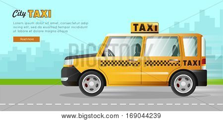Yellow taxi with a checker on the road of the city. Speed and easy mean of transportation on the highway. Urban cab. Skyscrapers on the background. City taxicab driving through street. Vector