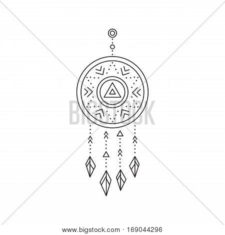 Tribal vector thin line icon, native indian talisman dreamcatcher. Boho element, bohemian style, ethnic american symbol. Black on white isolated illustration. Simple mono linear modern design.