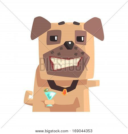 Smug Little Pet Pug Dog Puppy With Collar Drinking Martini Cocktail Emoji Cartoon Illustration.  Stylized Geometric Vector Design.