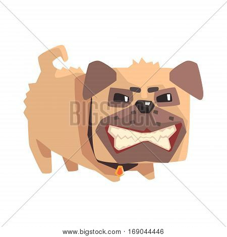 Disheveled Angry Little Pet Pug Dog Puppy With Collar Emoji Cartoon Illustration.  Vector Design.