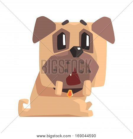 Outraged And Surprised Little Pet Pug Dog Puppy With Collar Emoji Cartoon Illustration.