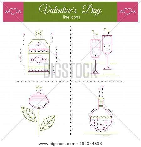 Valentine's Day, feelings of romance and love. Thin line icons set, vector illustration. Cute pictograms, romantic isolated symbols. Simple mono linear modern design.