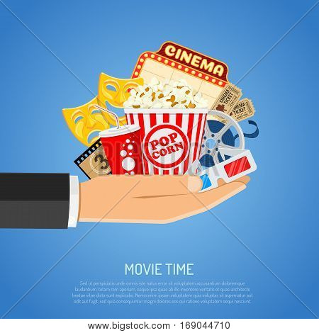 Cinema and Movie time concept with flat icons popcorn, masks, 3D glasses, tickets in hand, isolated vector illustration