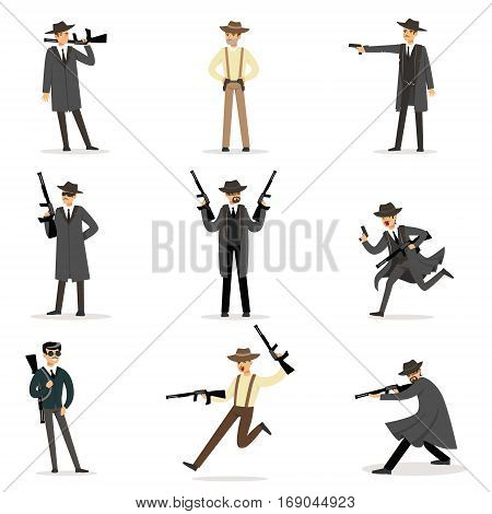 American Mafia Mob Members Of 30s Set Of Cartoon Criminal Mobster Characters. Coza Nostra Italian Criminal Organization Illustration With Mafia Soldiers With Rifles Doing Their Crimes.