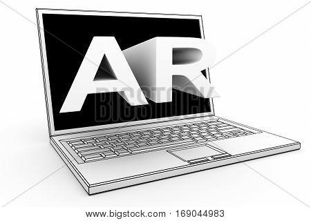 ar laptop on white background 3D illustration