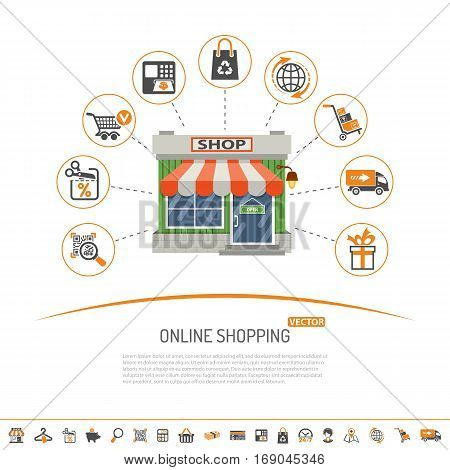 Online internet shopping concept with Two Color and flat Icons Set for business marketing and advertising with shop, delivery, sale and goods. Isolated vector illustration