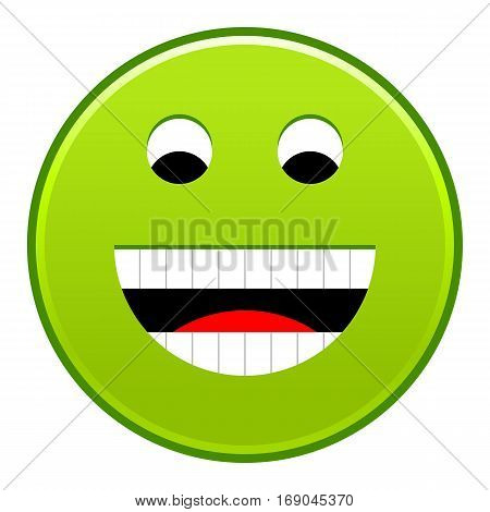 Green smiling face cheerful smiley happy emoticon. Quick and easy recolorable shape isolated from background. Vector illustration a graphic element for web internet design
