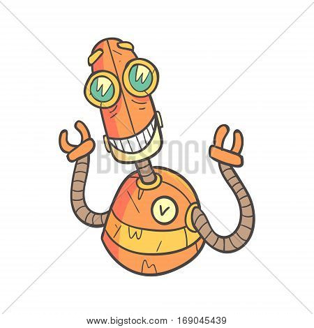 Smiling Happy Orange Robot Cartoon Outlined Illustration With Cute Android And His Emotions. Comic Vector Sticker With Humanoid Artificial Intelligence Character.