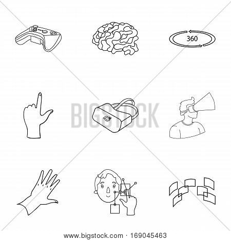 Virtual reality set icons in outline design. Big collection of virtual reality vector symbol stock illustration