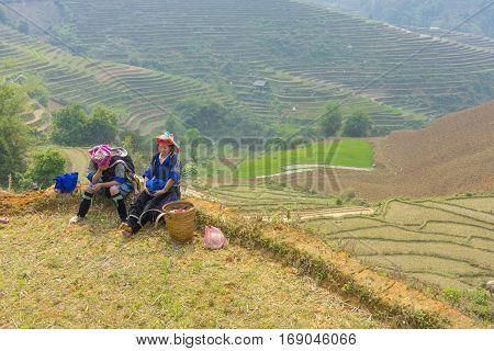 Yen Bai, Vietnam - Apr 12, 2014: Unidentified Hmong women relax on dry terraced paddy field in Mu Cang Chai district, Yen Bai, Vietnam