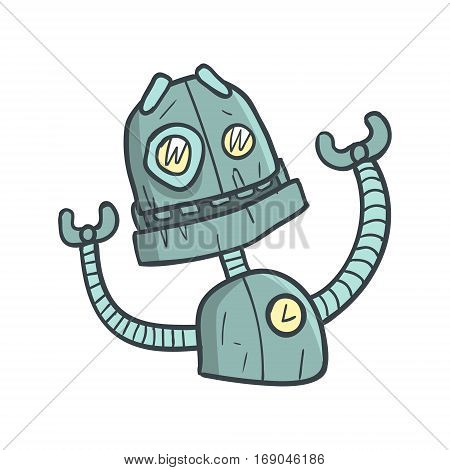 Smiling Friendly Blue Robot Cartoon Outlined Illustration With Cute Android And His Emotions. Comic Vector Sticker With Humanoid Artificial Intelligence Character.