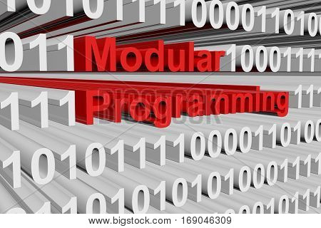 modular programming in the form of binary code, 3D illustration
