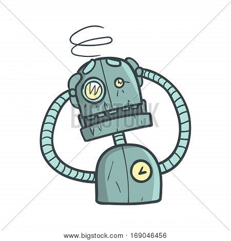 Dizzy Blue Robot Cartoon Outlined Illustration With Cute Android And His Emotions. Comic Vector Sticker With Humanoid Artificial Intelligence Character.