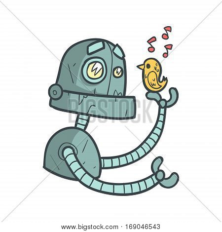 Blue Robot Listening To Little Bird Sing Cartoon Outlined Illustration With Cute Android And His Emotions. Comic Vector Sticker With Humanoid Artificial Intelligence Character.