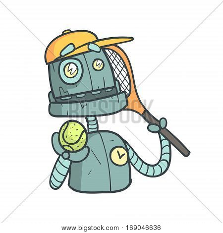 Tennis Player Blue Robot Cartoon Outlined Illustration With Cute Android And His Emotions. Comic Vector Sticker With Humanoid Artificial Intelligence Character.