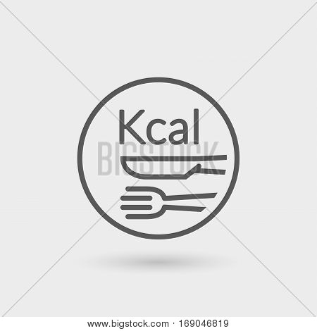 kcalcalories diet thin line icon black color isolated