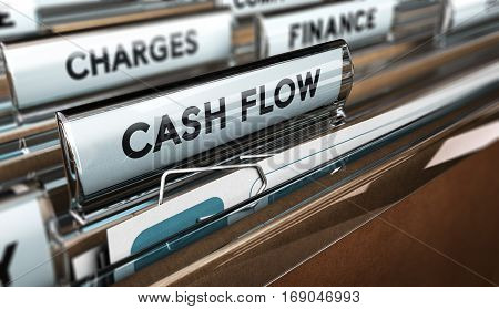 3D illustration of a folder tab with the text cash-flow. Accounting concept. Horizontal image.