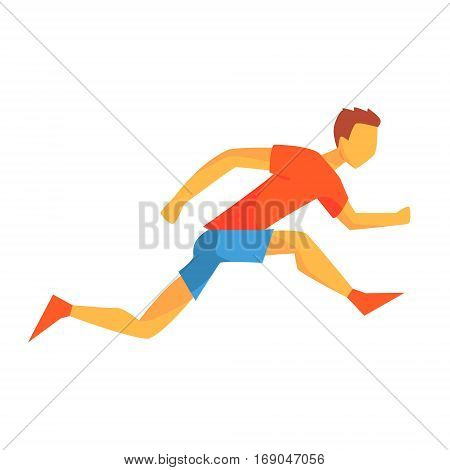 Man Sprinting On Short Distance, Male Sportsman Running The Track In Red Top And Blue Short In Racing Competition Illustration.
