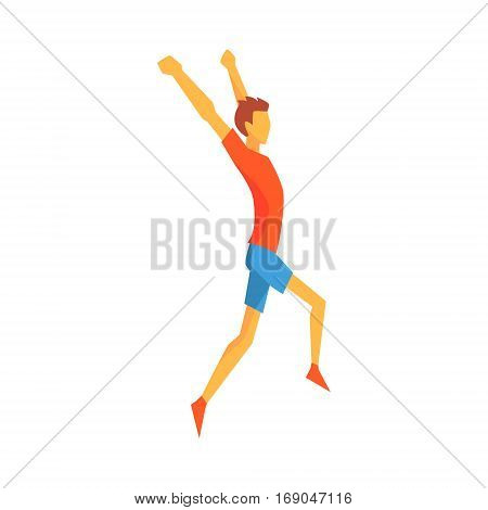 Man Crossing Finish Line Winning, Male Sportsman Running The Track In Red Top And Blue Short In Racing Competition Illustration.