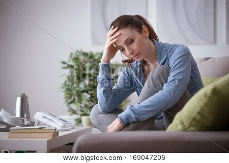 Depressed Woman At Home