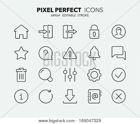 Set of interface line icons. Contains icons as settings log in user search download and more. Editable stroke. 64x64 Pixel Perfect.