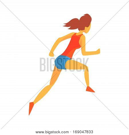 Woman Racing With Hurdles, Female Sportsman Running The Track In Red Top And Blue Short In Racing Competition Illustration.