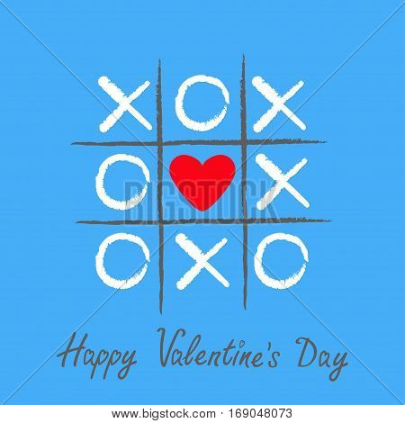 Tic tac toe game with criss cross and red heart sign mark XOXO. Hand drawn brush. Doodle line. Happy Valentines day card Flat design Isolated. Blue background. Vector illustration