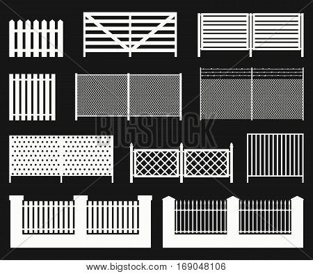 White color silhouettes of fences on black background. Simple vector icons.