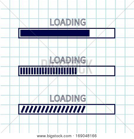 Loading progress status bar icon set. Web design app download timer. Squared blank sheet of copybook white background. Notebook paper texture cell Flat trendy element. Vector illustration