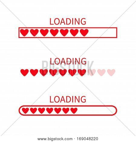 Loading progress status bar icon set. Love collection. Red heart. Funny happy valentines day element.Web design app download timer. White background. Flat trendy object. Isolated. Vector illustration
