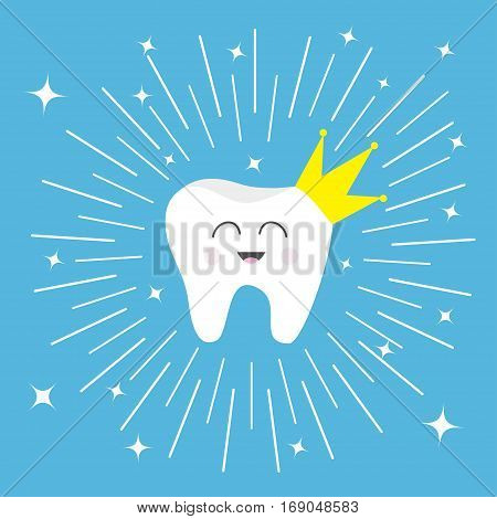 Healthy tooth crown icon Smiling face. King queen prince princess Cute cartoon character. Round line circle. Children teeth care. Shining effect stars. Blue background. Flat Vector illustration