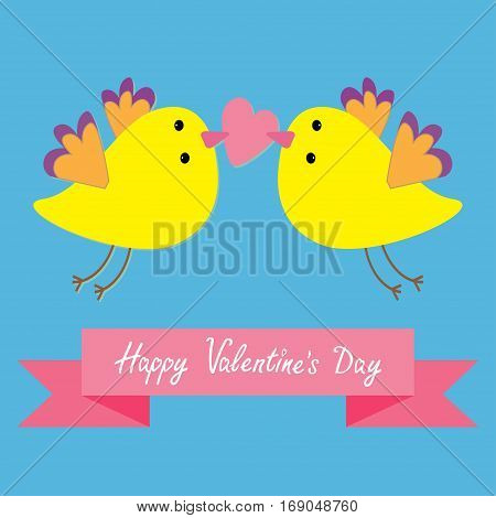 Two flying yellow bird family couple holding heart. Happy Valentines Day. Pink ribbon. Love Greeting card. Cute cartoon character set. Flat design. Blye sky background. Vector illustration