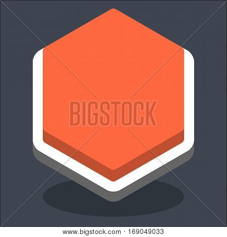 Use it in all your designs. Flat web internet hexagon button with oval shadow in 3D style. Inactive variant. Quick and easy recolorable shape. Vector illustration a graphic element